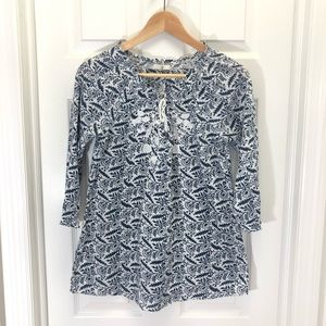 Joie Abstract Floral Quarter Sleeve Peasant Blouse